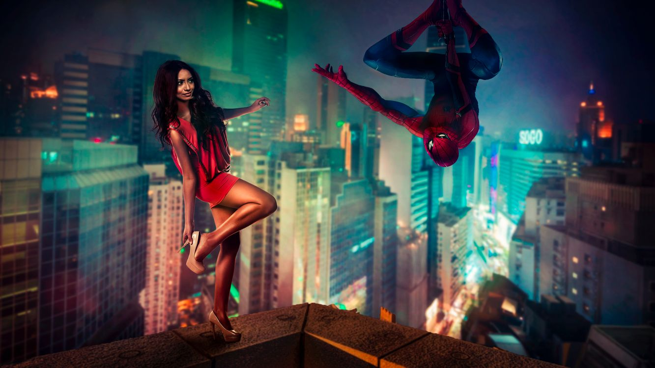 Фото бесплатно Человек-паук, Spider-Man, девушка, город, сумерки, фантастика