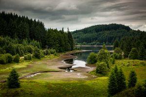 Заставки Лесной парк королевы Елизаветы,Аберфойл,Шотландия,озеро,лес,деревья,небо