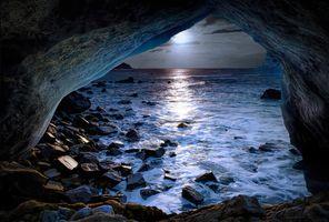 Фото бесплатно море, лунный свет, луна