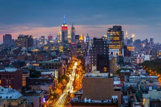 Фото бесплатно США, Нью-Йорк, Манхэттен, здания, таймлапс, небоскребы