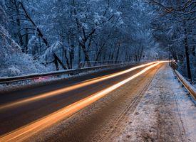 Фото бесплатно зима, ночь, трасса