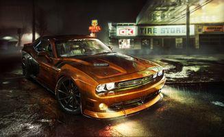 Бесплатные фото DODGE Challenger,автомобиль,машина,фары,свет,ночь,огни
