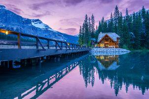 Бесплатные фото Emerald Lake,Yoho National Park,Canada,Изумрудное озеро,Национальный парк Йохо,Канада,пейзаж
