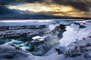 Фото бесплатно Gullfoss Waterfall, Iceland, зима