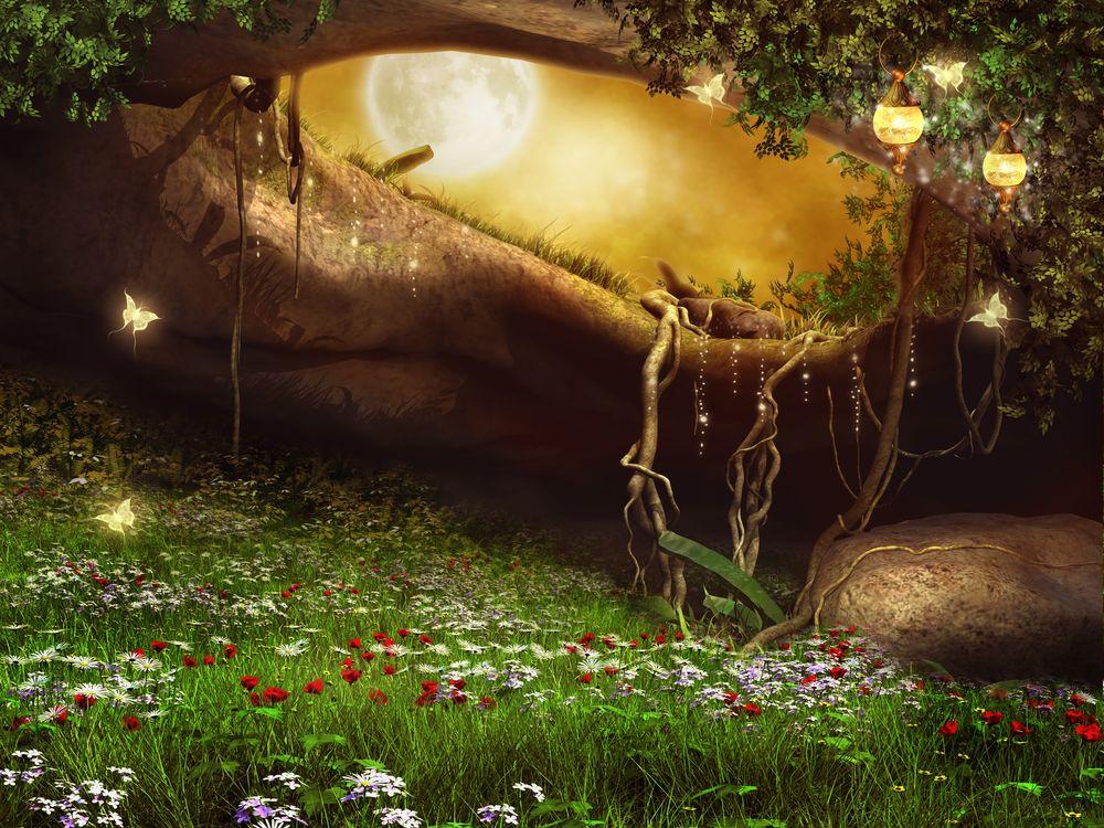 Фото бесплатно Заколдованная пещера с фонарями, Фатрикс, фантастика, ночь, луна, цветы, бабочки, art, рендеринг