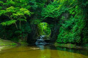 Фото бесплатно Водопад Донкотори, Япония, скалы