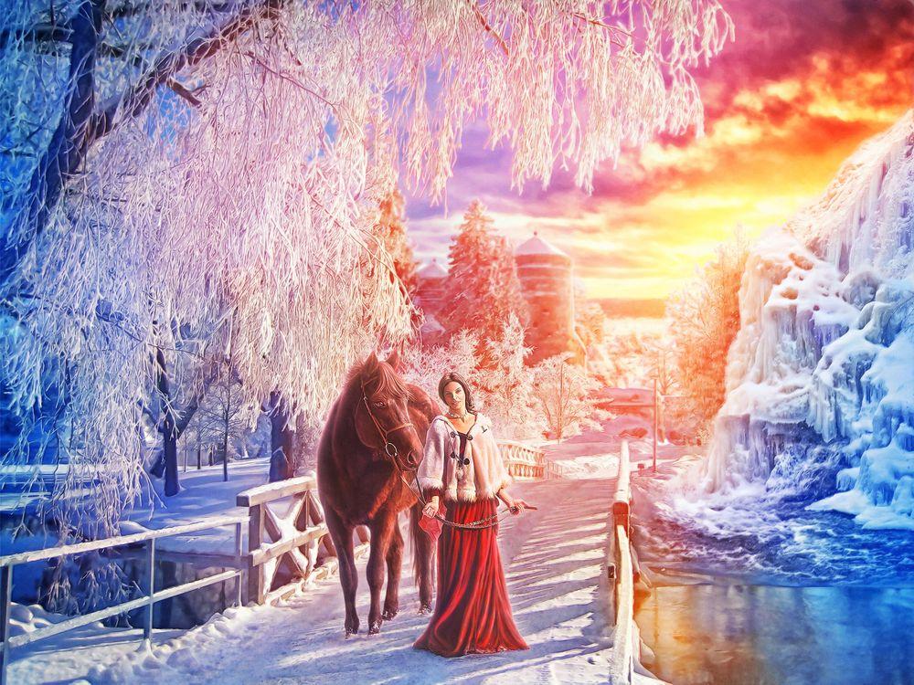 Фото бесплатно девушка с конём, зимний закат, мост, река, зима, деревья, закат, пейзаж, фантазия, art, рендеринг