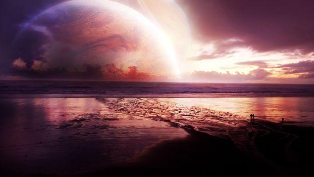Заставки океан, берег, люди