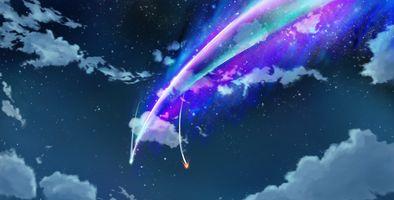 Бесплатные фото kimi no na wa,ночь,облака,комета