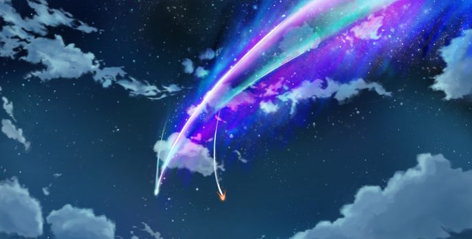 Фото бесплатно kimi no na wa, ночь, облака, комета