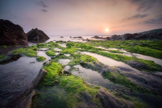 Бесплатные фото Корнуолл,Юго-Западная Англия,море,пляж,закат,скалы,пейзаж