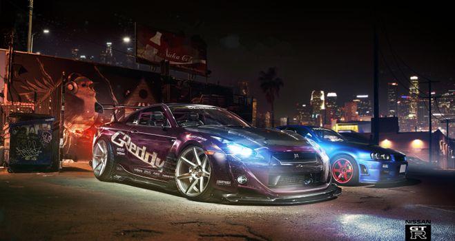Бесплатные фото Nissan GT-R,ночь,фары,ксенон,наклейки,спорт,тюнинг