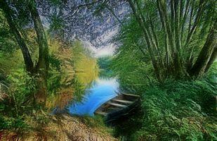 Фото бесплатно лес, река, лодки