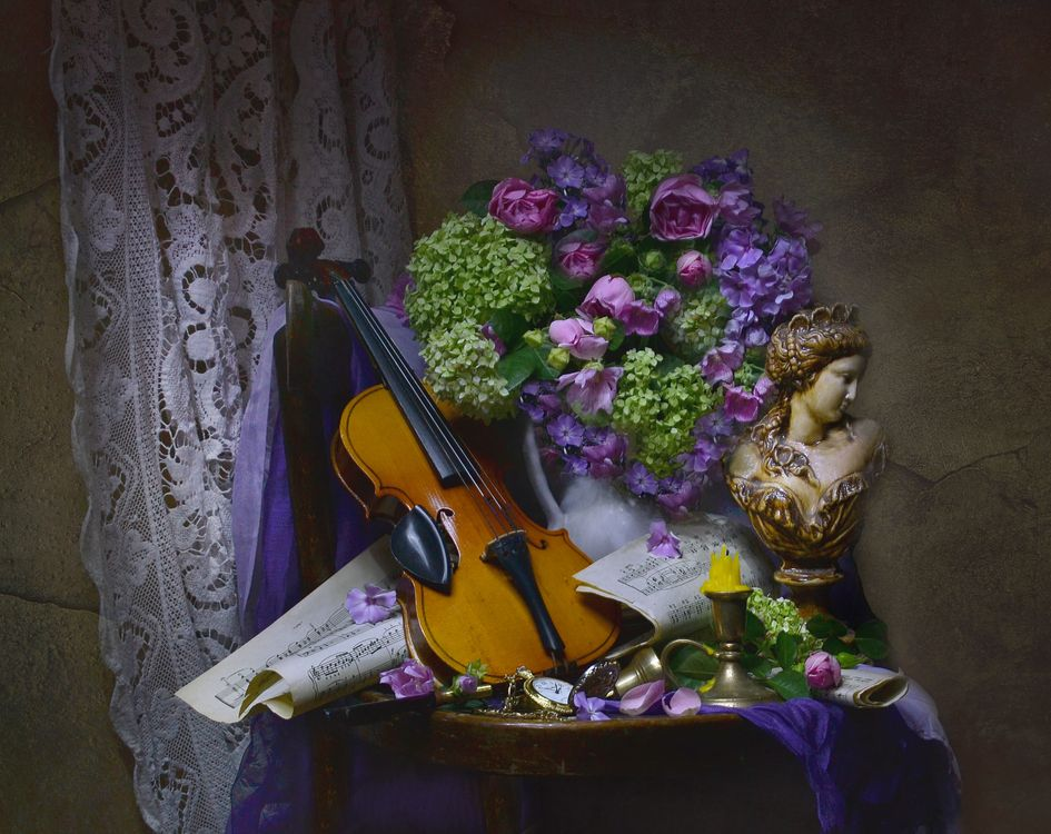 Обои скрипка, ваза, букет картинки на телефон