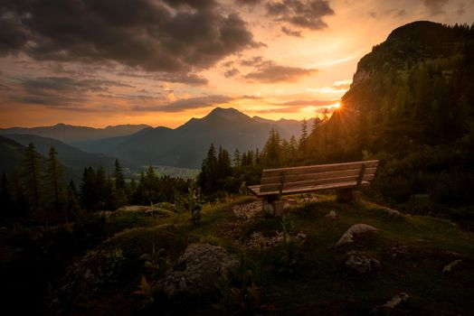 Bench with a view of the mountains · free photo