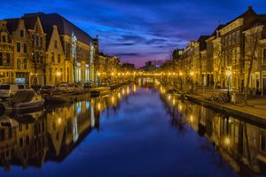 Photo free city, night, waterway