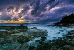 Photo free rocks, clouds, coast