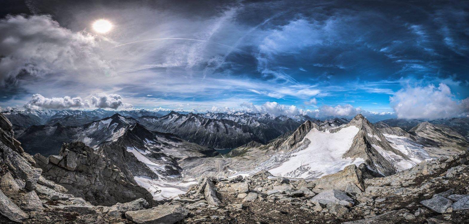 Фото бесплатно Удивительный вид из Райхеншпитце, Австрия, горы, небо, облака, панорама, пейзаж, пейзажи