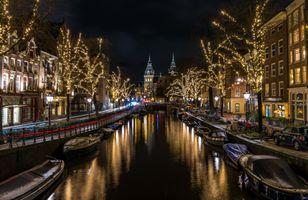 Фото бесплатно освещение ночного города, Нидерланды, Голландия