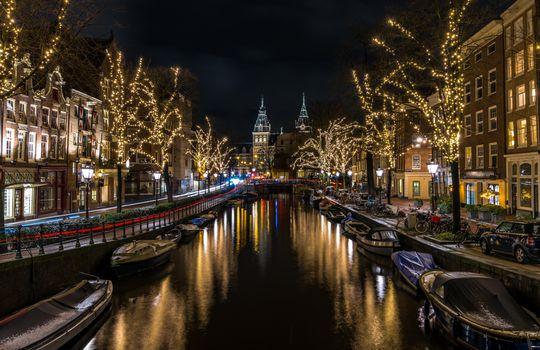 Бесплатные фото Amsterdam,Амстердам,Нидерланды,Голландия,ночные города,иллюминация