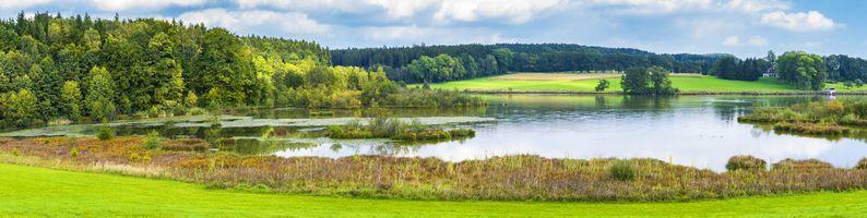 Бесплатные фото панорама,озеро,небо,пейзаж,вода,природа,лето