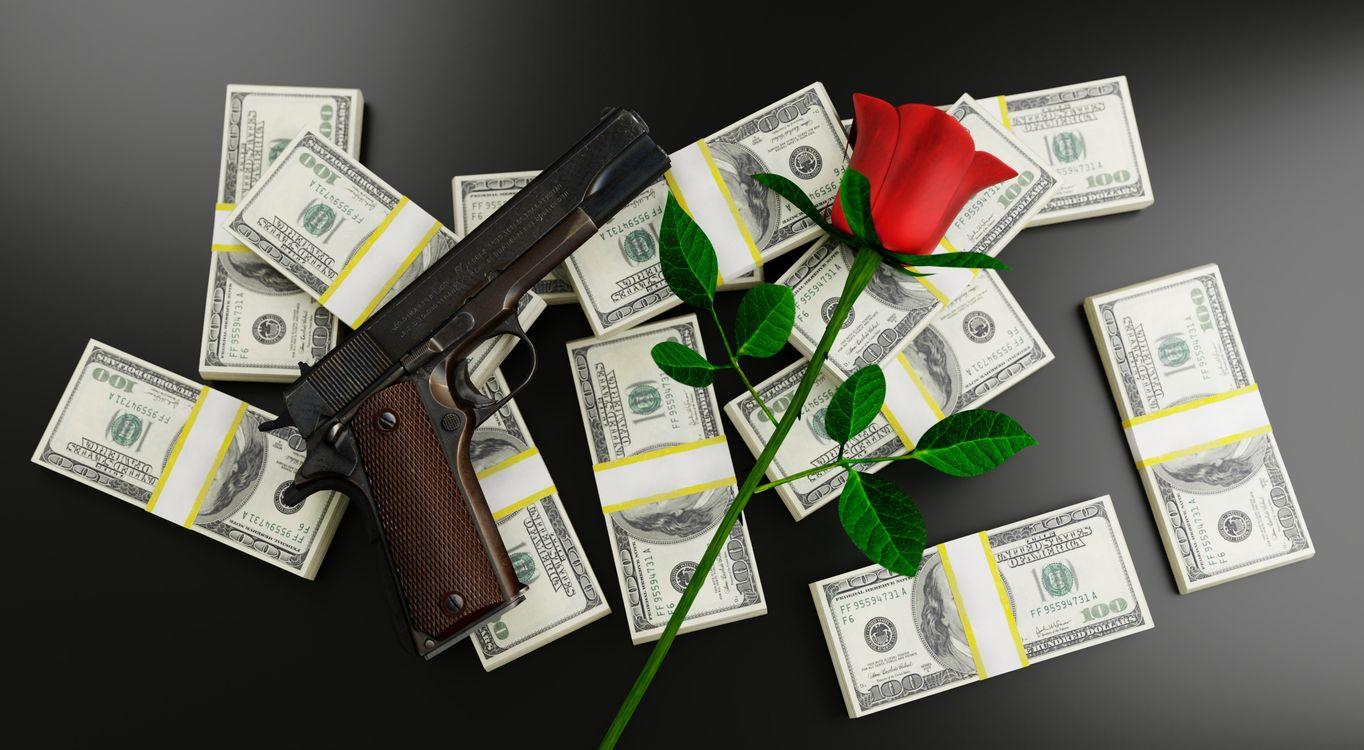 Обои еньги, пушка, роуз картинки на телефон