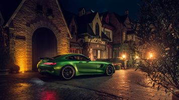 Заставки Mercedes Amg Gtr, зеленый, город