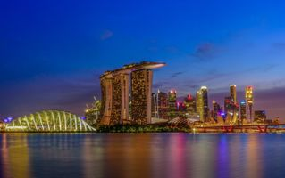 Обои Singapore, Сингапур, город, сумерки, закат