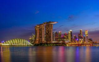 Фото бесплатно Сингапур, закат, город