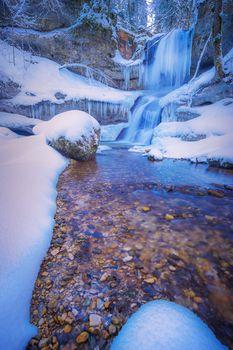 Заставки замёрзший зимний водопад, зима, лес