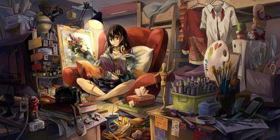 Photo free artist girl painting room, girl, anime