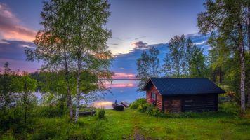 Бесплатные фото Финляндия,Куусамо,Kallunkij rvi sunset,закат,озеро,поляна,домик