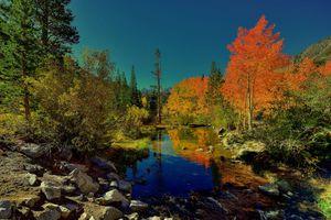 Заставки осень, водоём, камни