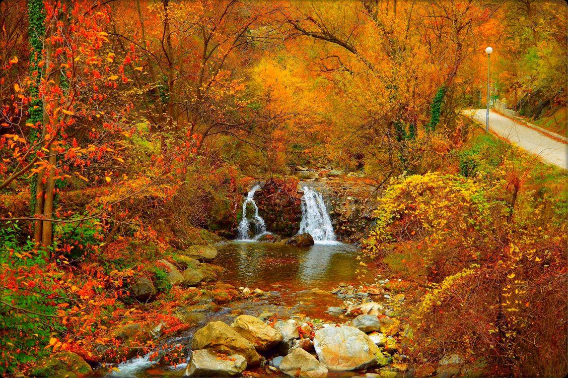 Фото бесплатно осенний водопад, краски осени, осенние краски, осень, дорога, деревья, осенняя листва, осенние листья, природа, камни, пейзаж, пейзажи