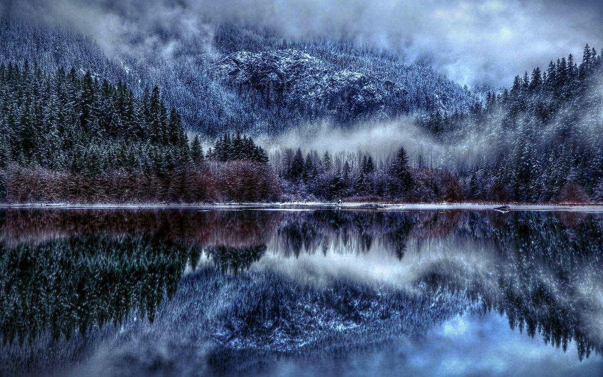 Фото бесплатно облака, туман, озеро, горы, природа, отражение, снег - на рабочий стол