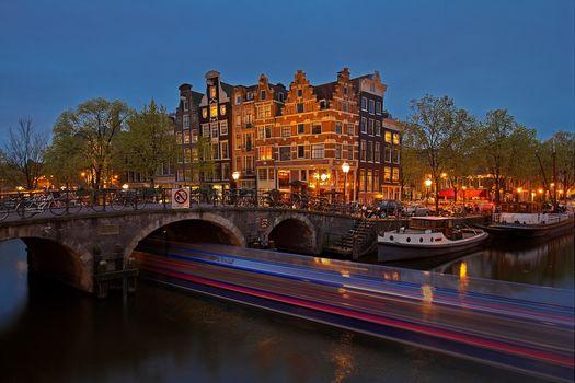 Фото бесплатно ночной город освещение, Амстердам, Голландия