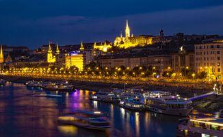 Бесплатные фото Будапешт,Венгрия,Дунай,ночь,иллюминация