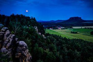 Фото бесплатно Саксонская Швейцария, закат, скалы