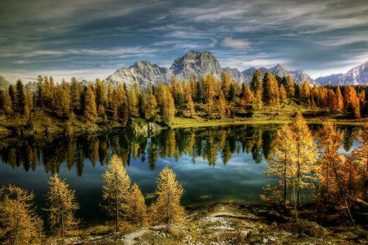 Бесплатные фото Antelao Dolomiti Mountain Re,Италия,Bergsee,природа,озеро,federa,облака,небо,альпийский,горы,осень,пейзаж