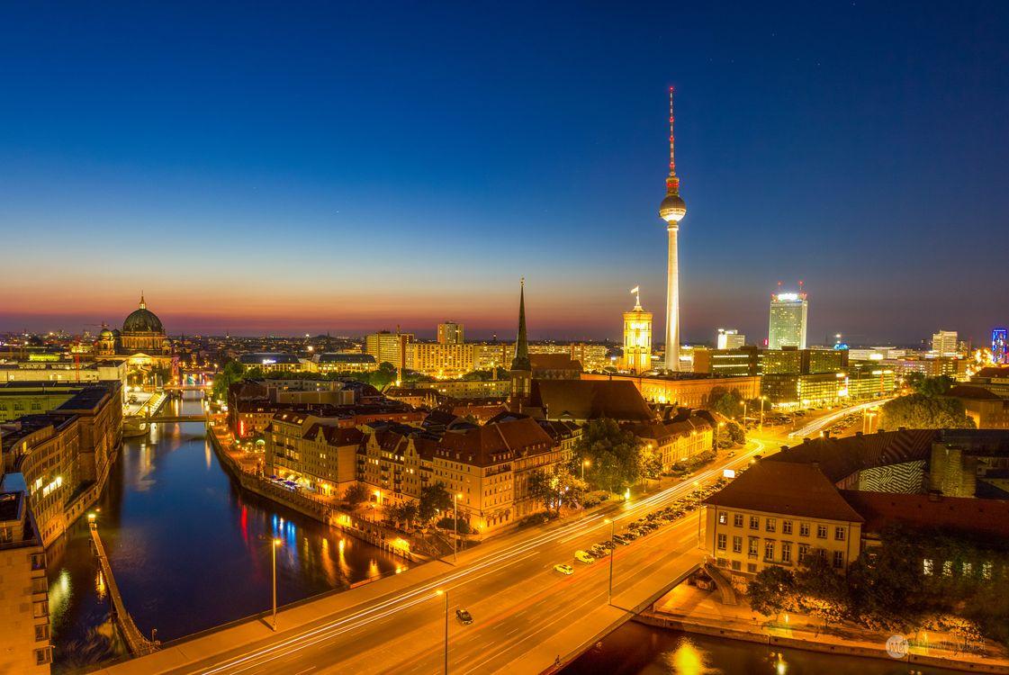 Фото бесплатно ночной город, Германия, закат - на рабочий стол