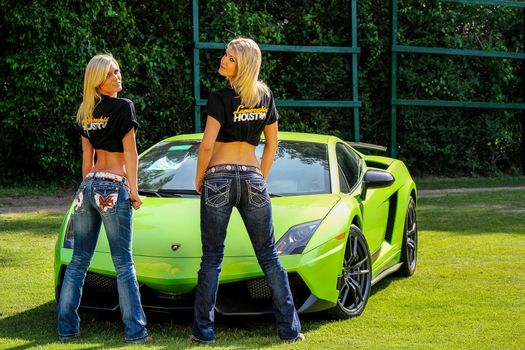 Photo free Lamborghini, blonde, two women
