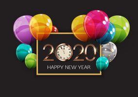 Photo free the new year 2020, bulbs, frame