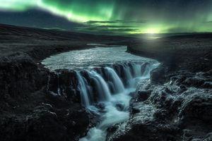 Заставки Каньон Колуглюфур, Исландия, водопад