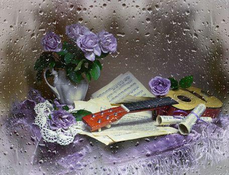 Заставки гитара, натюрморт, розы