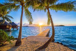 Бесплатные фото Bora bora,Французская Полинезия,Тихий океан,закат солнца,берег,пляж,пальмы