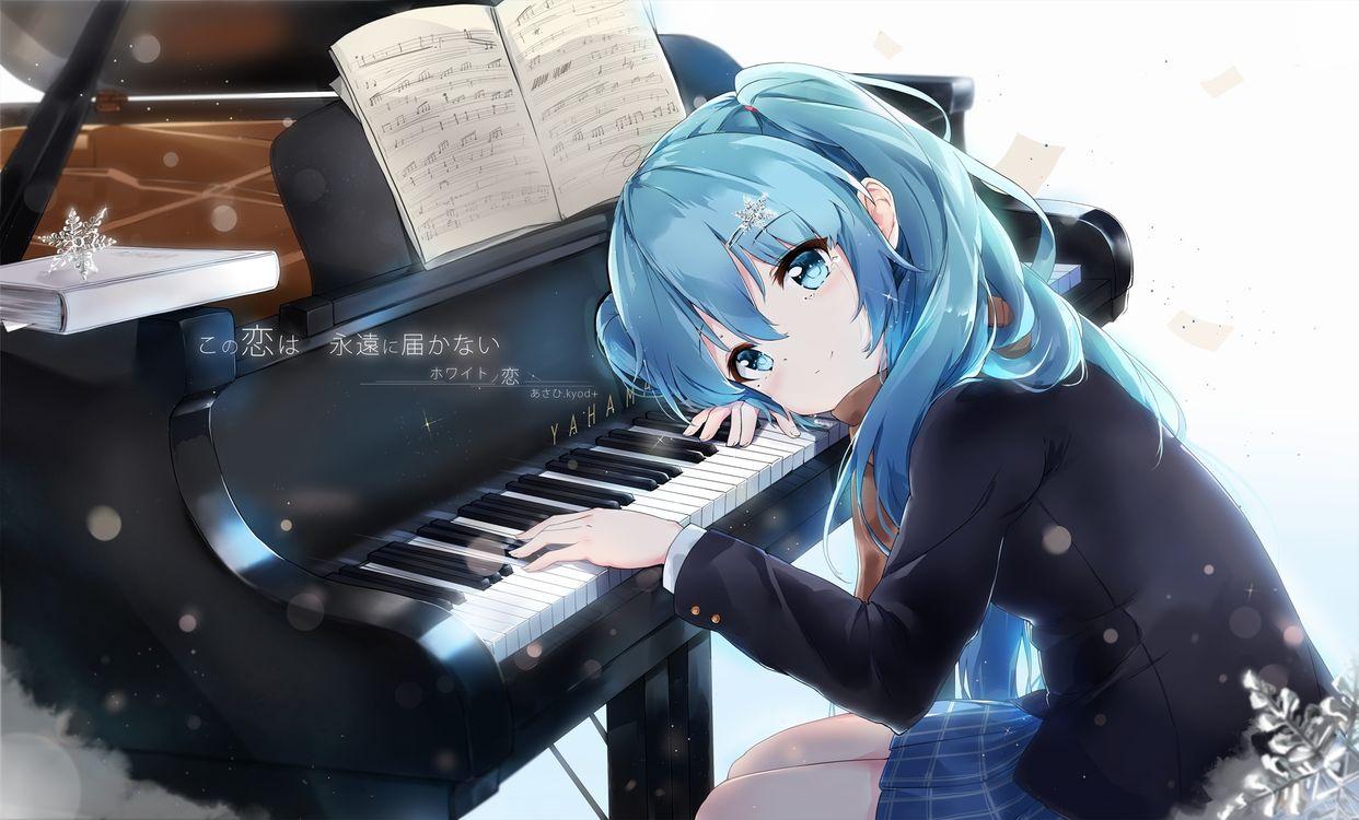 Фото бесплатно Хацунэ Мику, пианино, инструмент - на рабочий стол