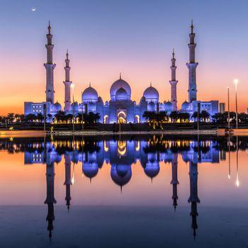 Заставки Даби, ночь, Объединенные Арабские Эмираты