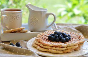 Бесплатные фото ягоды,кофе,молоко,вафли