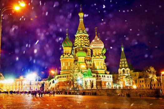 Заставки ночь, ночные города, Храм Василия Блаженного