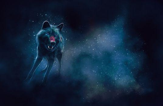 Заставки искусство, волк, свечение